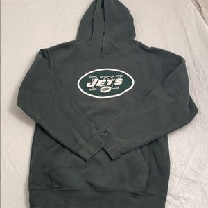 NFL Jets green white logo hoodie L 14-16